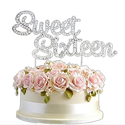 Image Unavailable Not Available For Color Rhinestone Silver Diamante Sweet Sixteen 16 Birthday Cake