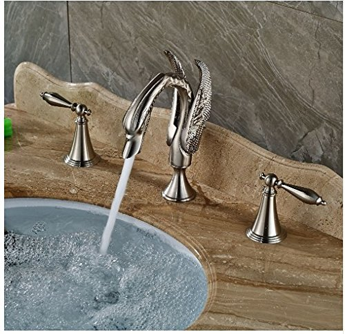 Gowe Brushed Nickle Bath 3pcs Sink Tap Deck Mounted Double Handles Hot&Cold Faucet 3
