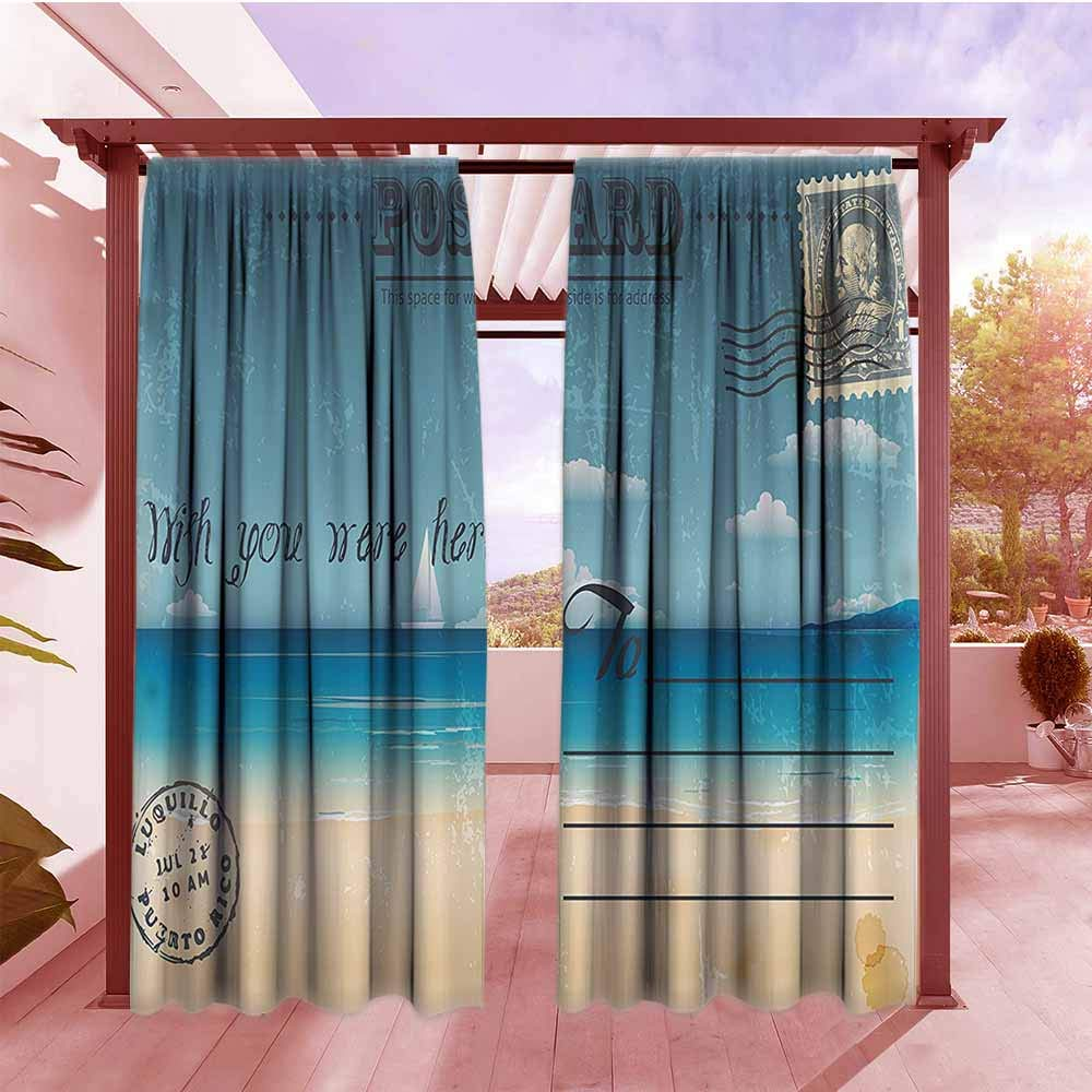AndyTours Exterior/Outside Curtains Postcard Decor Nostalgic Tropical Summer Backdrop on Vintage Card Stamp Travel Print Simple Stylish W72x108L Sand Brown Teal
