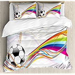 Ambesonne Soccer Duvet Cover Set Queen Size, Rainbow Patterned Swirled Lines Abstract Football Pattern Colorful Stripes Design, Decorative 3 Piece Bedding Set with 2 Pillow Shams, Multicolor