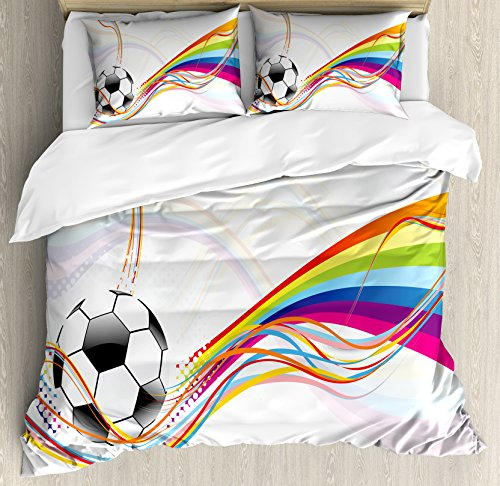 Soccer Queen Size Duvet Cover Set by Ambesonne, Rainbow Patterned Swirled Lines Abstract Football Pattern Colorful Stripes Design, Decorative 3 Piece Bedding Set with 2 Pillow Shams, Multicolor by Ambesonne