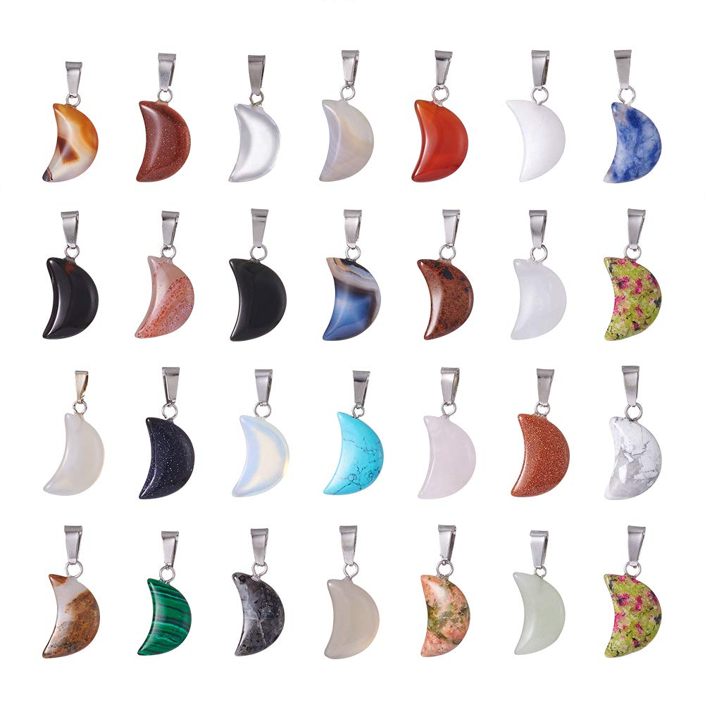 FASHEWELRY 50PCS Crescent Moon Shaped Charm Natural Stone Pendant with Silver Plated Brass Bail Chakra Healing Point Reiki Charm Bulk for Jewelry Making by FASHEWELRY
