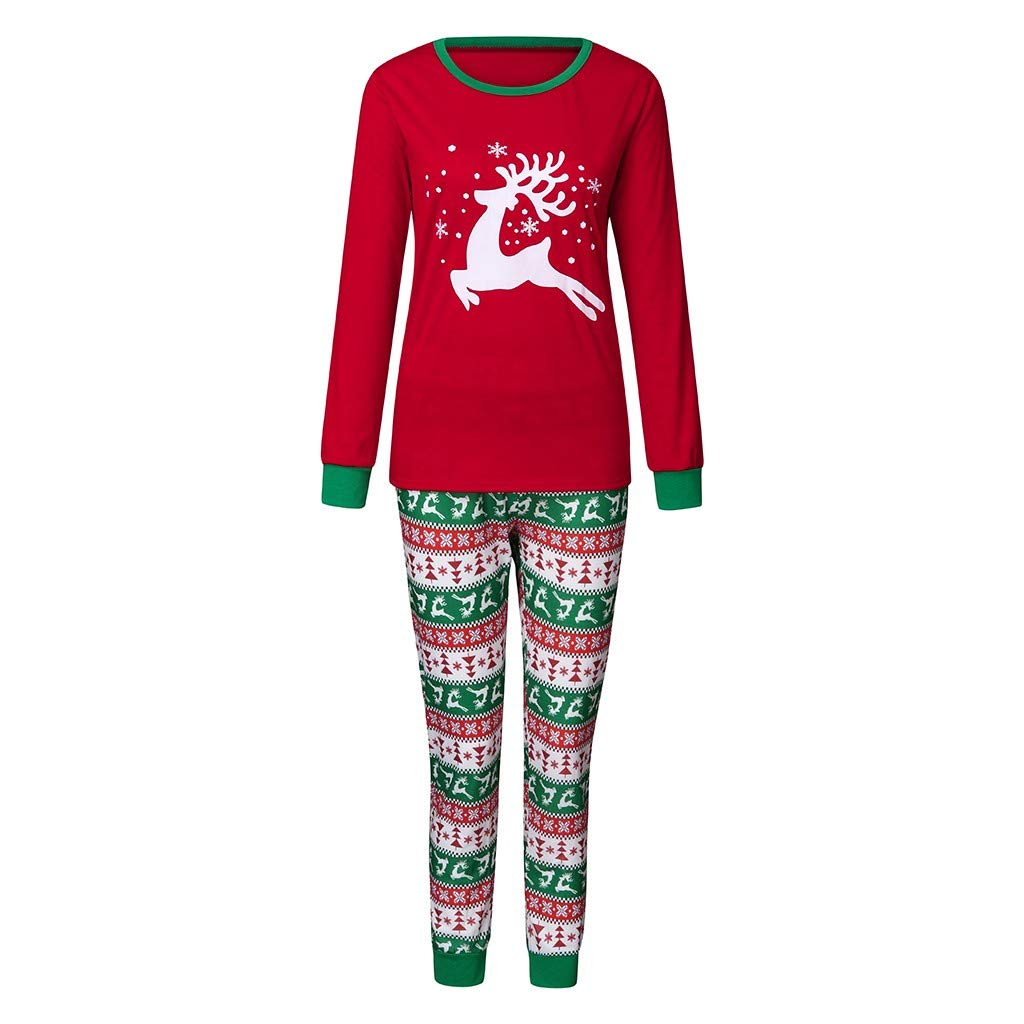 Christmas Children Kid Mommy Daddy Warm Cartoon Snowman Deer Tops+Snowflake Pants Family Clothes Pajamas by QQ1980s
