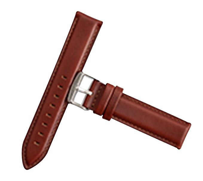 722cfe248e4b Correas de Reloj de luz de Color marrón Cuero Genuino Superior del Cuero  del Becerro de Grano Reloj de Correa de 17 mm para los Hombres y Las  Mujeres  ...