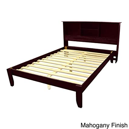 Epic Furnishings Scandinavia King Size Solid Bamboo Wood Platform Bed With  Bookcase Style Headboard