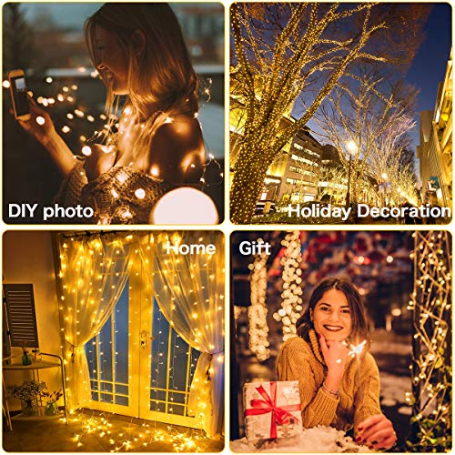 LED Curtain Lights, Easy Install Window Curtain Twinkle Lights with Hooks[USB&Remote Control],300 LED String Lights Halloween Wedding Indoor Outdoor Bedroom Christmas[8 Modes 9.8 x 9.8 ft Warm White]