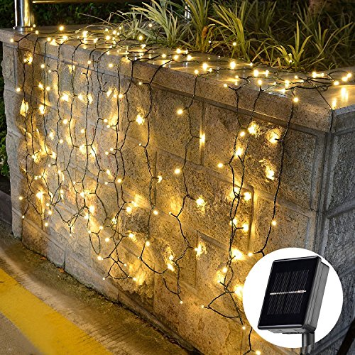 [72foot 200 Led] Solar String Lights Outdoor\Garden Lighting, 8 Mode (Steady, Flash), Waterproof, Fairy Lamp Decoration for Halloween, Yard, Fence, Patio, Tree, Party, Holiday, Home (Warm White)