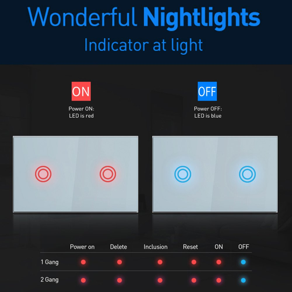1 Gang 1 Way Wifi Wall Touch Switch Wireless Remote Light Eu Us Relay App Control Work With Alexa Google Home Smart Switch Rich And Magnificent Lighting Accessories
