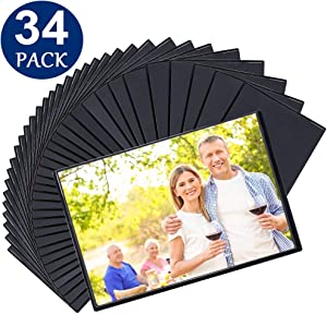 Tebik Magnetic Picture Frames, 34 Pack, Holds 4 x 6 Inches Photos Pictures, Black Magnetic Photo Frames with Clear Pocket for Refrigerator, Fridge, Locker, Office Cabinet