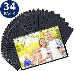 Tebik Magnetic Picture Frames, 34 Pack, Holds 4 x 6 Inches Photos Pictures, Black Magnetic PhotoFrameswith Clear Pocket for Refrigerator, Fridge, Locker, Office Cabinet