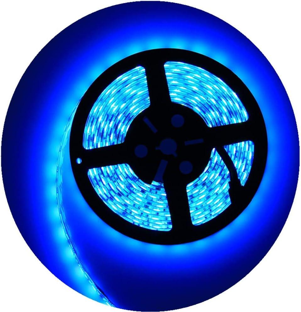 Alarmpore(TM Water-Resistance IP65, 12V Waterproof Flexible Blue LED Strip Light, 16.4ft/5m Cuttable LED Light Strips, 300 Units 5050 LEDs Lighting String LED Tape