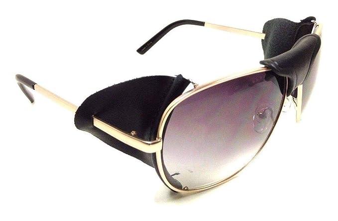 167a32c886657 Amazon.com  Retro Aviator Sunglasses w Faux Leather Bridge   Side Shields ( Gold   Black Leather w Case