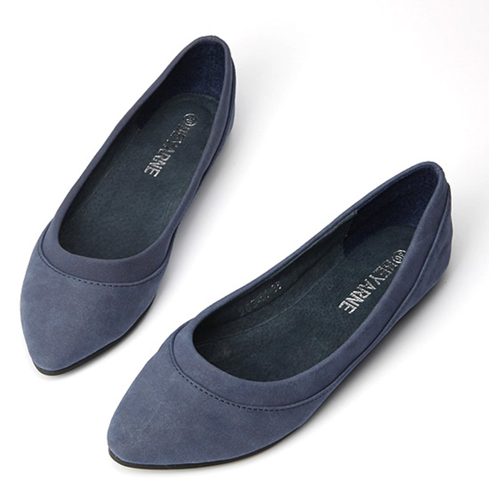 Easemax Womens Fashion Korean Pointed Toe Low Cut Suede Flats Shoes