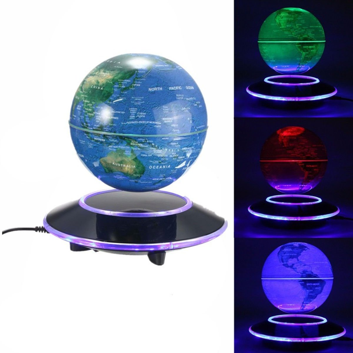World globeking do way multi color led display 360 degree rotating floating globe for desktop office home decor kids educational magnetic levitation world map birthday easter gifts amazon kitchen home negle Gallery