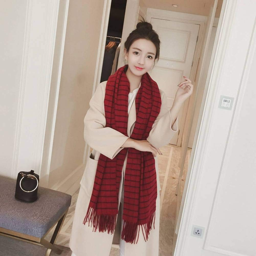 Good dress European and Warm American Streets Wool Women Warm and Plaid Long Scarf Otoño and Invierno Outdoor Multi-Functional Fgreyion Trend Wild Warm Shawl Scarf Gift, Navy Azul 9a8ed9