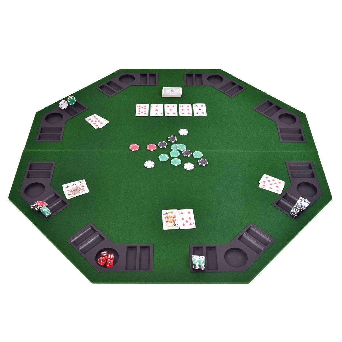 MRT SUPPLY 48'' 8 Players Octagon Foldable Poker Table Top with Ebook