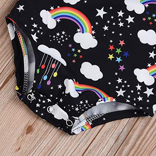 NUWFOR Infant Baby Kid Newborn Cartoon Rainbow Printed Ruffle Romper Bodysuit Outfits(Black,3-6Months) by NUWFOR (Image #5)