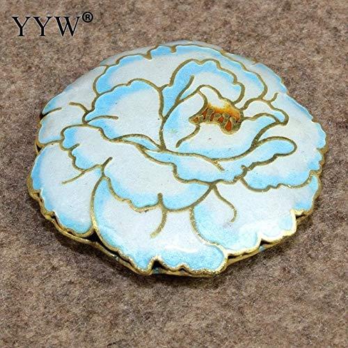 Calvas Cloisonne Beads Ladies Jewelry Tree Paeony Bead 42mm Hole:1.5mm Handmade Flat Round Beads DIY Crafts & Charm Bracelet - (Color: - Beads Flat Cloisonne Round