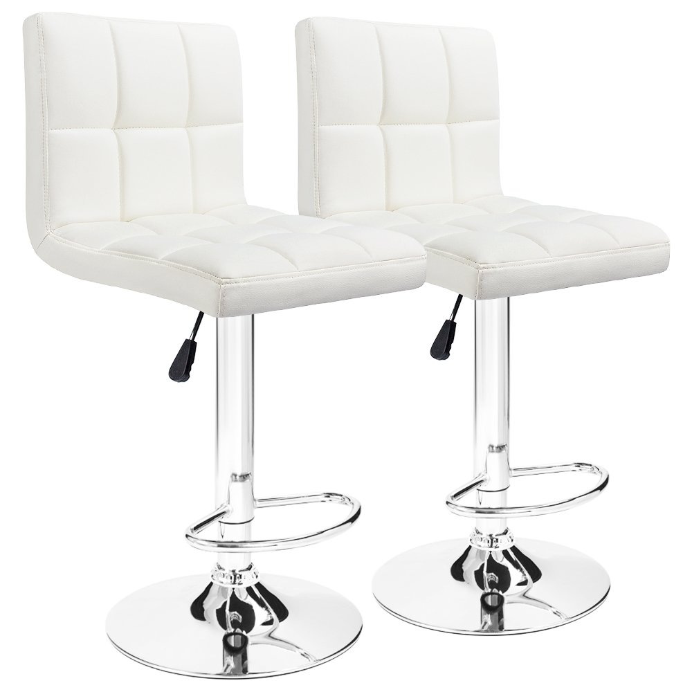 Furmax Bar Stools White Modern Pu Leather Swivel Adjustable Hydraulic Bar Stool Square Counter Height Stool(Set of 2)