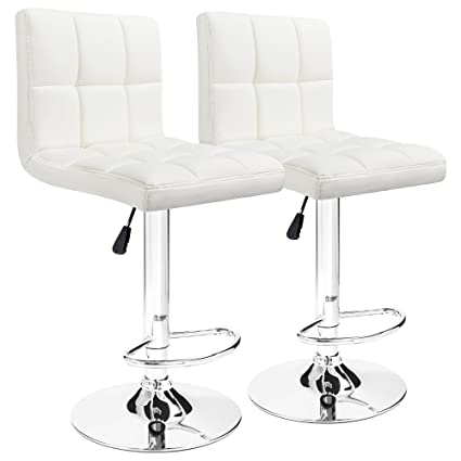Furmax Bar Stools White Modern Pu Leather Swivel Adjustable Hydraulic Bar  Stool Square Counter Height Stool