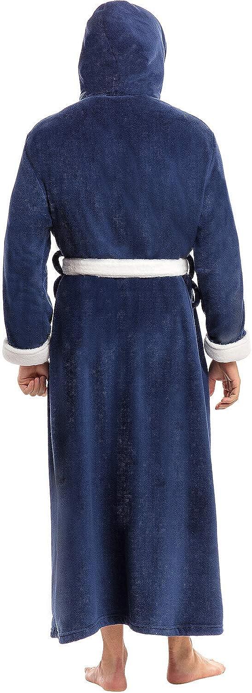 Alexander Del Rossa Mens Warm Fleece Robe with Hood Big and Tall Contrast Bathrobe