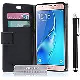 zStarLn® nero luxury Portafoglio Protettiva Custodia in pelle per Samsung Galaxy J3 2016 Cover Caso + 3 pellicola protettiva e Stylus pen