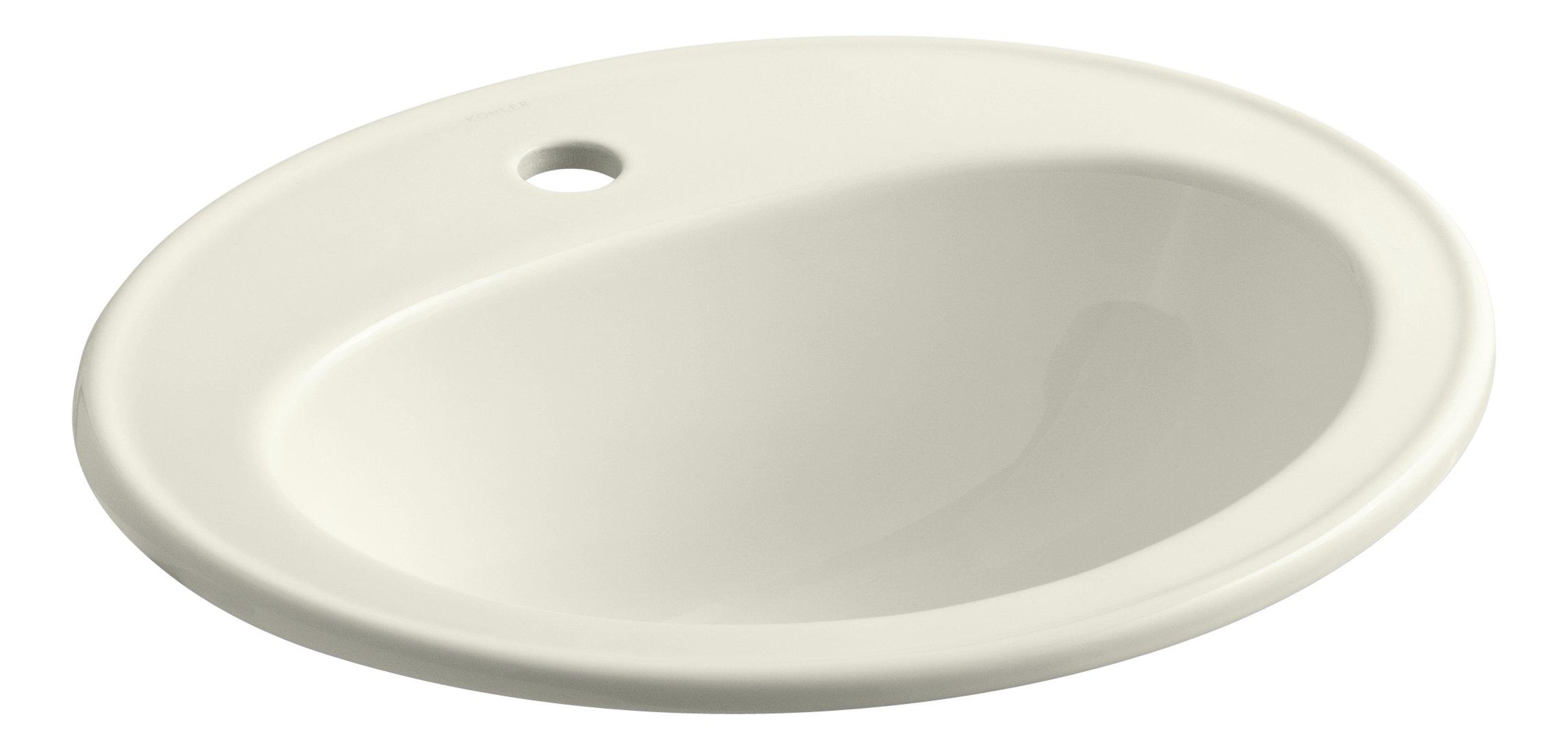 KOHLER K-2196-1-96 Pennington Self-Rimming Bathroom Sink, Biscuit