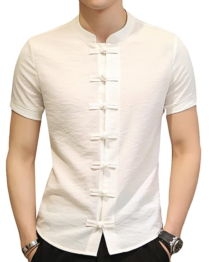 1960s Inspired Fashion: Recreate the Look Acquaa Mens Chinese Kung Fu Style Short Sleeve Button Shirt  AT vintagedancer.com