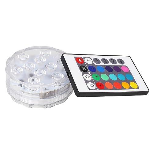 GLADLE 10 LED Multicolor Submersible Party Vase Base Light Bright Lamp Remote Control