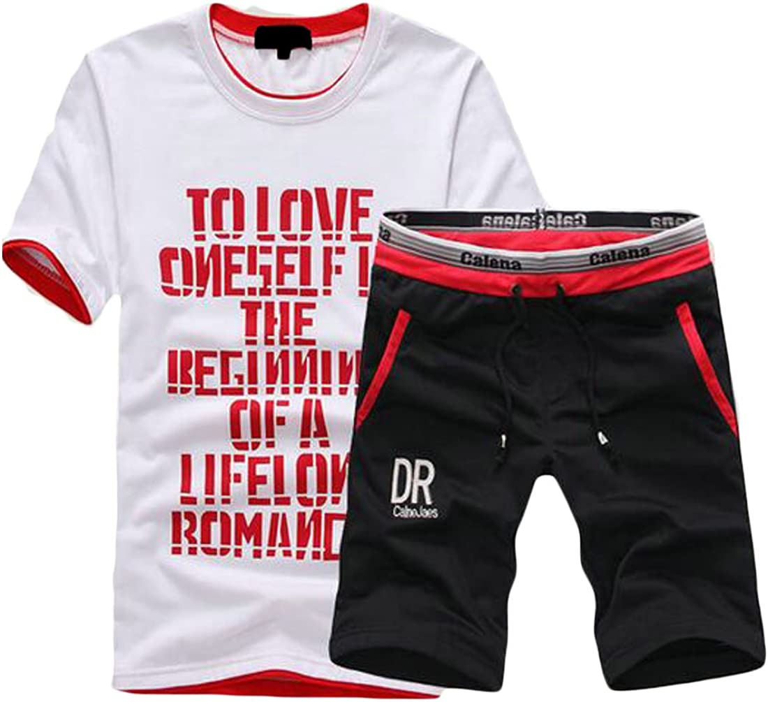 MMCP Mens T-Shirt and Shorts Pants Two Piece Outfits Short Sleeve Athletic Tracksuits