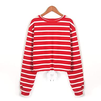 8b89657af8 FimKaul Trendy Women's Casual Loose Striped Long Sleeve Jumper Pullover Top  Red & White Sweatshirt (