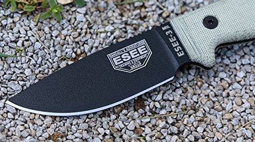 ESEE Knives ESEE-3MIL-P Military Plain Black Edge / w Green Canvas Micarta Handles by ESEE Knives (Image #3)