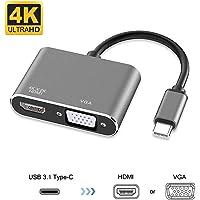 USB C to HDMI VGA Adapter,HMNXG USB 3.1 Type C to VGA HDMI 4K UHD Video Converter Adaptor for 2018 iPad Pro/MacBook Pro/Chromebook/Lenovo 900/Dell XPS/Samsung Galaxy S8 S9, No Driver (Black)