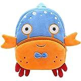 Children Toddler Preschool Backpack Plush Animal Cartoon Backpack Baby Kids School Satchel Travel Lunch Bags(Crab)