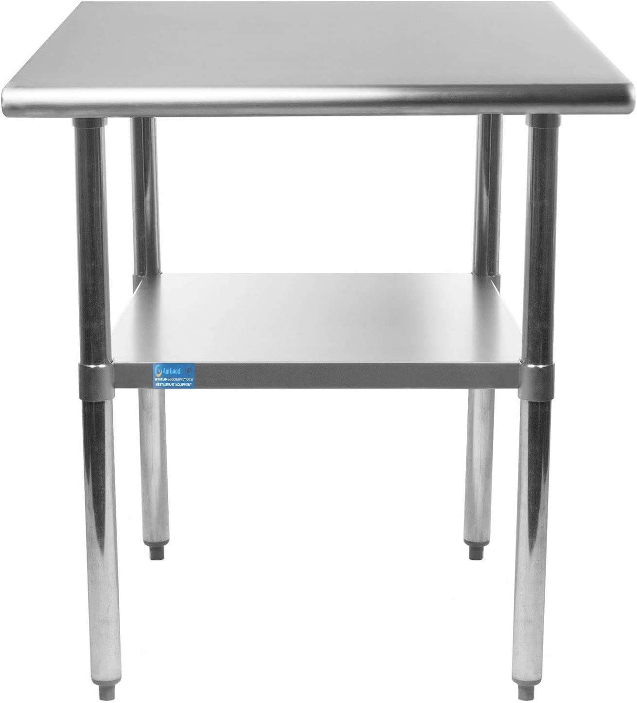 "AmGood Stainless Steel Work Table Undershelf | Kitchen Island Food Prep | Laundry Garage Utility Bench | NSF Certified (24"" Long x 18"" Deep)"