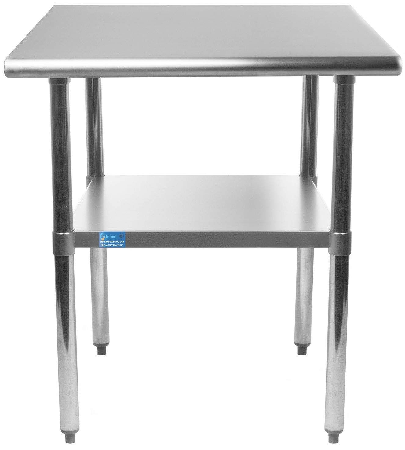 AmGood 24 X 24 Stainless Steel Work Table with Undershelf | NSF Certified | Kitchen Island | Restaurant Food Prep | Laundry Utility Bench | Garage Work Station