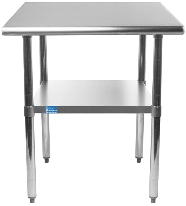 "AmGood Stainless Steel Work Table Undershelf | Kitchen Island Food Prep | Laundry Garage Utility Bench | NSF Certified (15"" Long x 24"" Deep)"