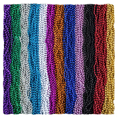 Funny Party Hats Mardi Gras Beads Necklaces - Party Costumes Accessories 144 Pc (Colorful)