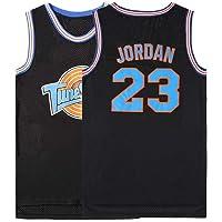 WELETION Película Espacial Camiseta de Juego de Baloncesto de Jersey de tamaño de Hombre# 23 Jordan Negro/Blanco