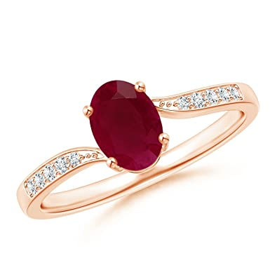 Angara Oval Pink Sapphire Bypass Ring with Trio Diamond Accents in Rose Gold O7tZDUA6