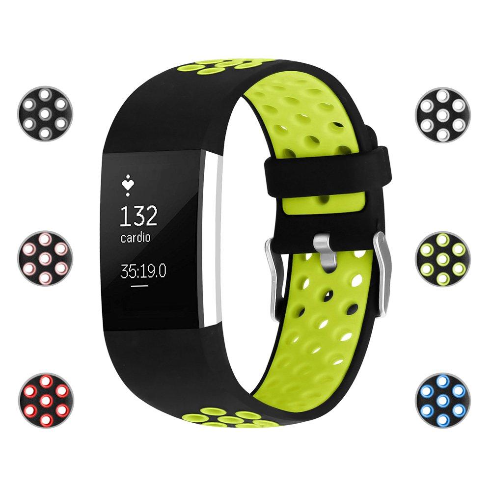iGK for Fitbit Charge バンド2本、調節可能な交換用スポーツストラップバンド Fitbit Charge 2スマートウオッチフィットネスリストバンド B06XG29HRG Small 5.5''-6.7'' #C Silicone Fluorescent yellow #C Silicone Fluorescent yellow Small 5.5''-6.7''