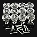 KathShop 12pcs/Bag Acrylic Zinc Alloy Crystal Glass Door Knobs with Screws Drawer Cabinet Furniture Kitchen Handle