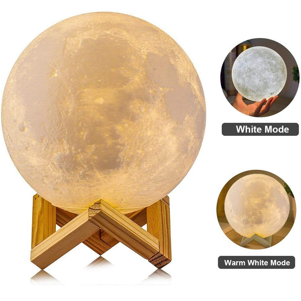 3D Moon Lamp, AGM Touch Control Adjust Brightness Moon Light with Stand, 2 Colors(Warm & Cool White) Led 3D Print Moon Night Light with USB Charging for Kids Gift Birthday Women(3.15IN)