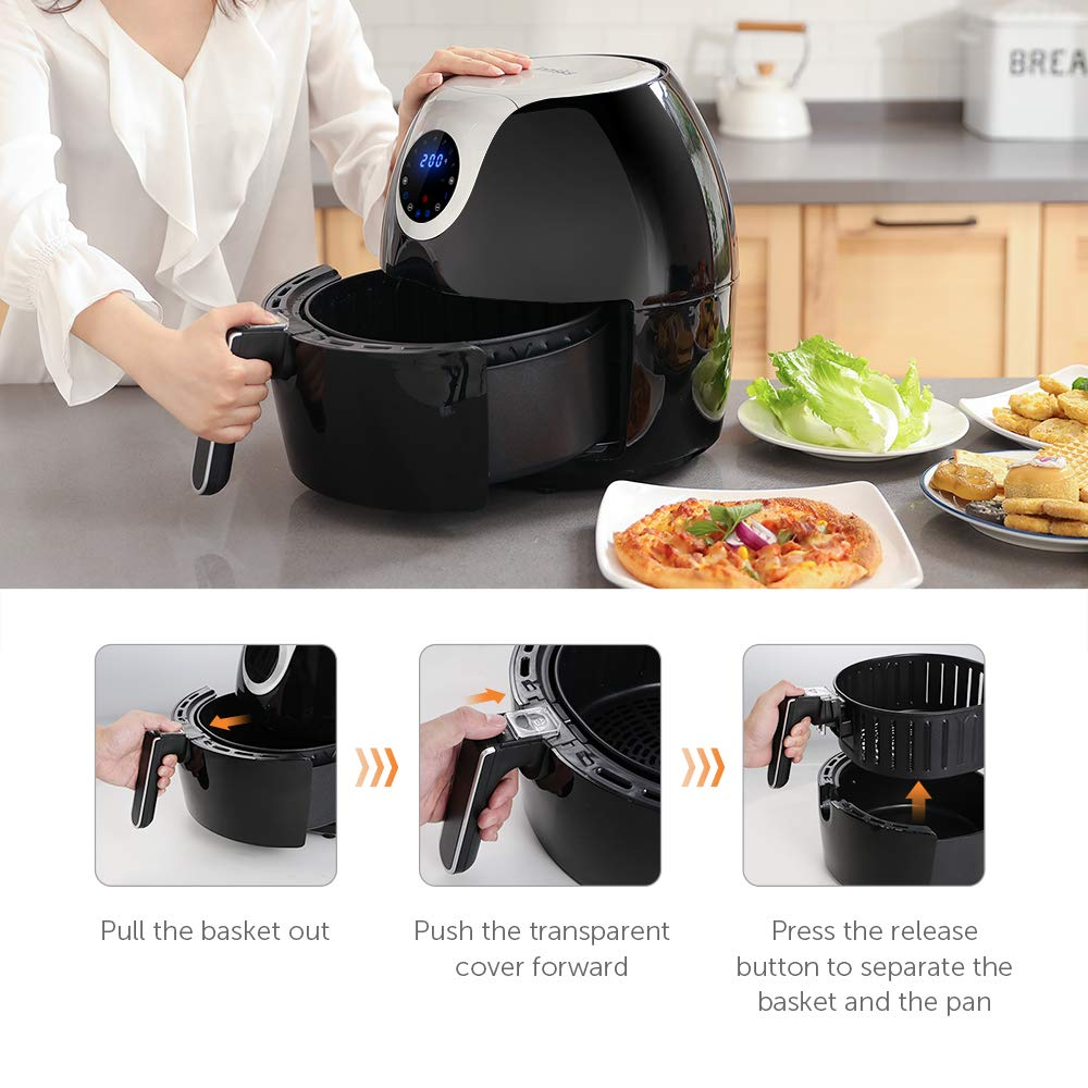 Innsky 6.3 Qt Air Fryer( 32 Main Recipes &Grilling Rack Included), 1700W Electric Hot Air Fryers XL Oven Oilless Cooker, LED Digital Touchscreen, Auto Shut Off, 7 Cooking Presets, Preheat & Nonstick Basket 18+3 Months Warranty by Innsky (Image #7)