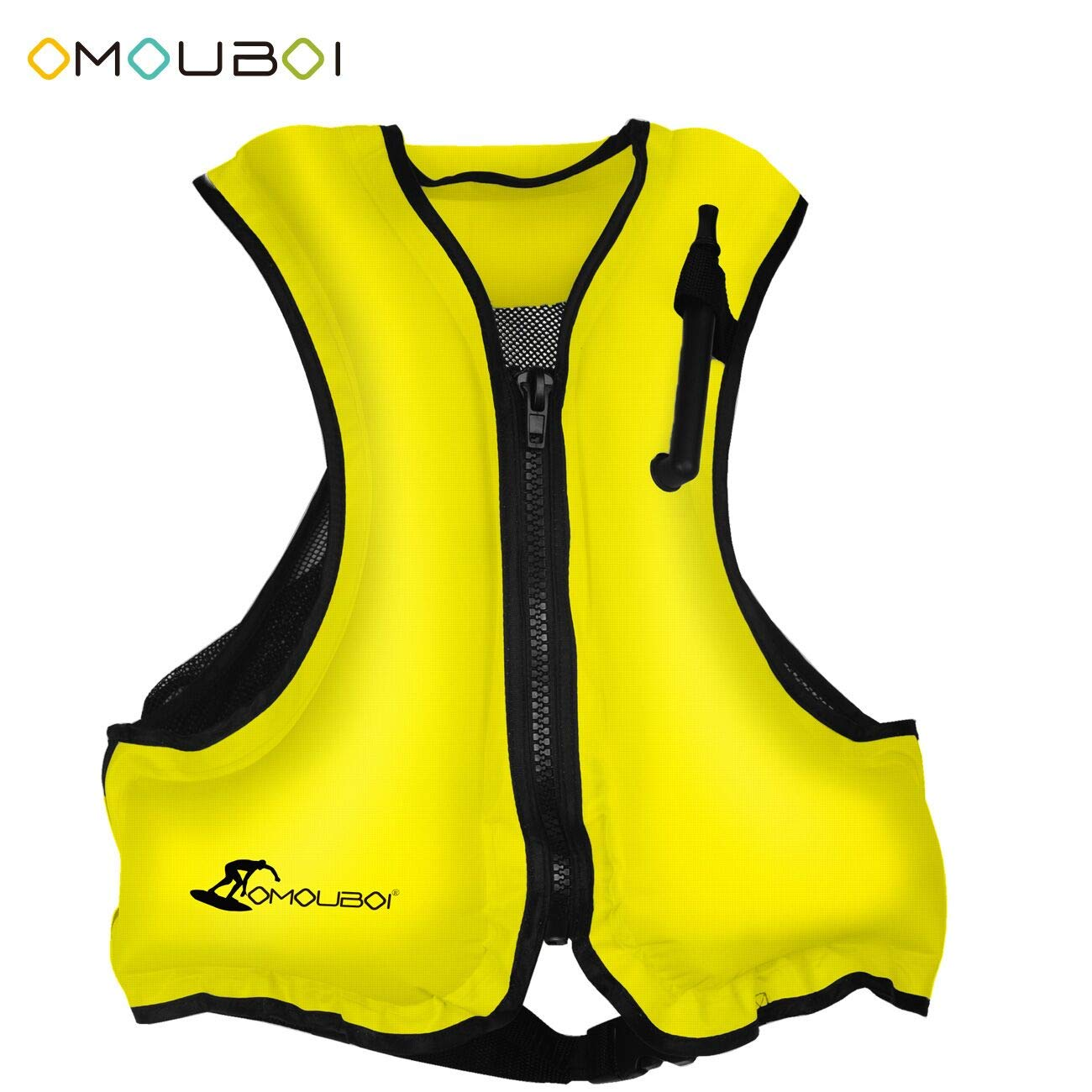 OMOUBOI Inflatable Life Jacket Adult Snorkel Vest Life Vest for Swimming&Diving Suitable for 80-220 lbs(Yellow)