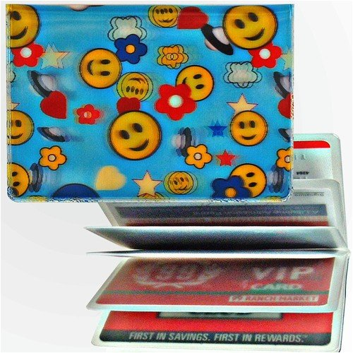 - 3D Lenticular ID Card Holder with vinyl insert of six frosted pockets, 3D Happy Face with UFO in the Blue Sky, YELLOW BLUE