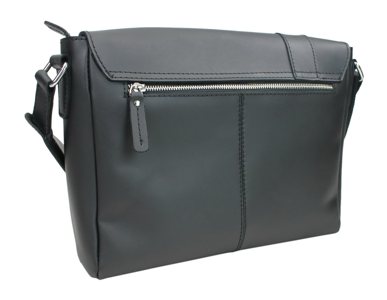 Black Vintage Full Grain Leather 16 Casual Leather Messenger Bag Asymmetrical Design L35