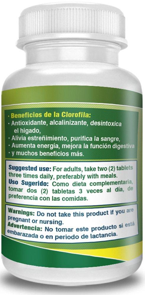 Amazon.com: Clorofila en tabletas. Set DE 2 frascos Con 120 tabletas CADA UNO. Desintoxica y purifica la Sangre, ayuda a la Digestion, combate estreñimiento ...
