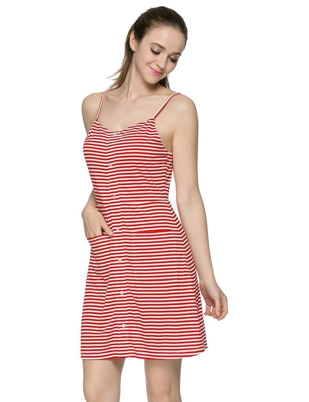 JXStar Damen gestreift Ausgestelltes Riemchen Falsch Placket von Buttons Kleid