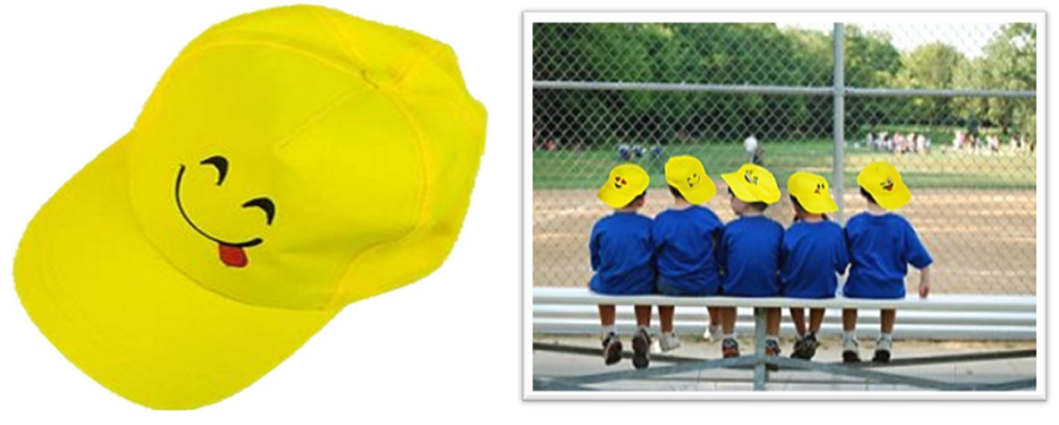 Play Kreative Emoji Baseball Cap - 6 Yellow Emoticon Hats by Play Kreative Tm (Image #1)
